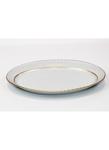 Kütahya Porselen Kütahya porselen kayık tabak sedef yaldızlı 35 cm. Renkli